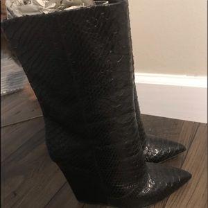 Giuseppe Zanotti snakeskin wedge calf boot